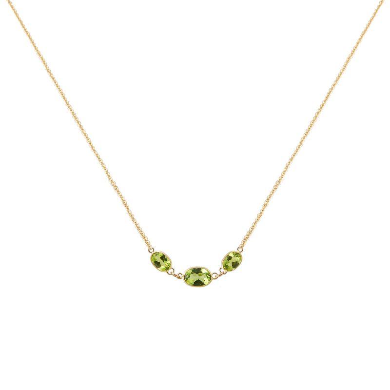 Three Stone Bezel Set Peridot Necklace In 14K Yellow Gold image