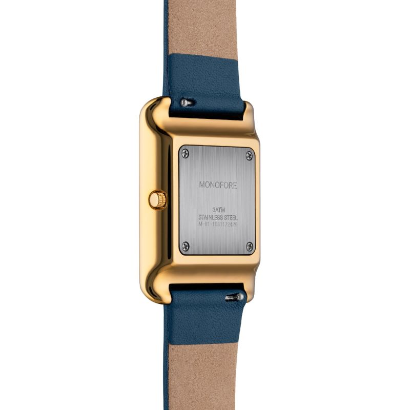 Monofore M01 Gold 41mm - Steel Blue Leather image