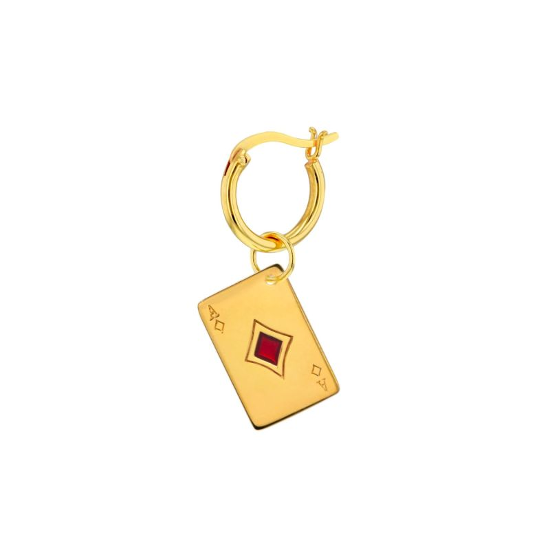Ace Of Diamonds Charm In 18Kt Gold Plate & Red Hoop image