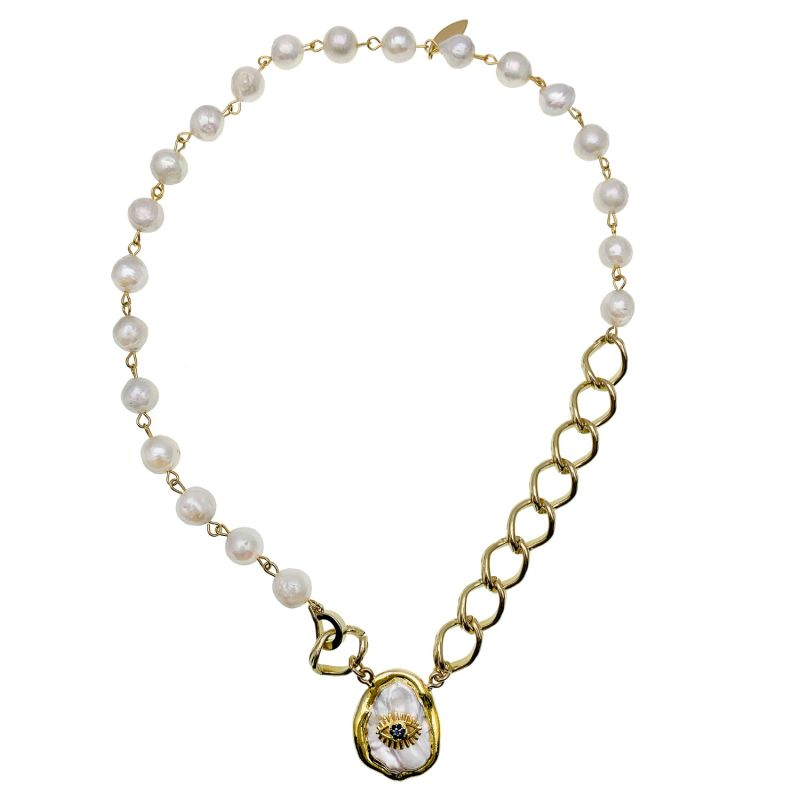 Freshwater Pearls With Evil Eye Charm Chain Necklace image