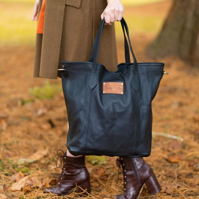 Marie Leather Tote (Black) image