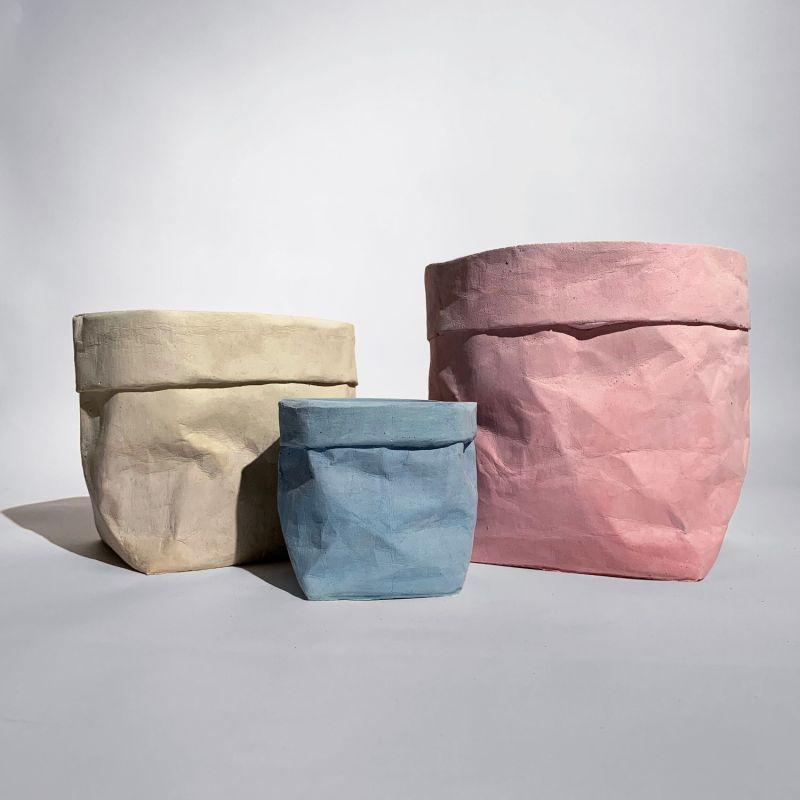 Colour Concrete Paper Bag Large Pink image