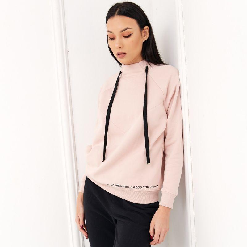 Cosy Pink Sweatshirt With Black Drawstrings image