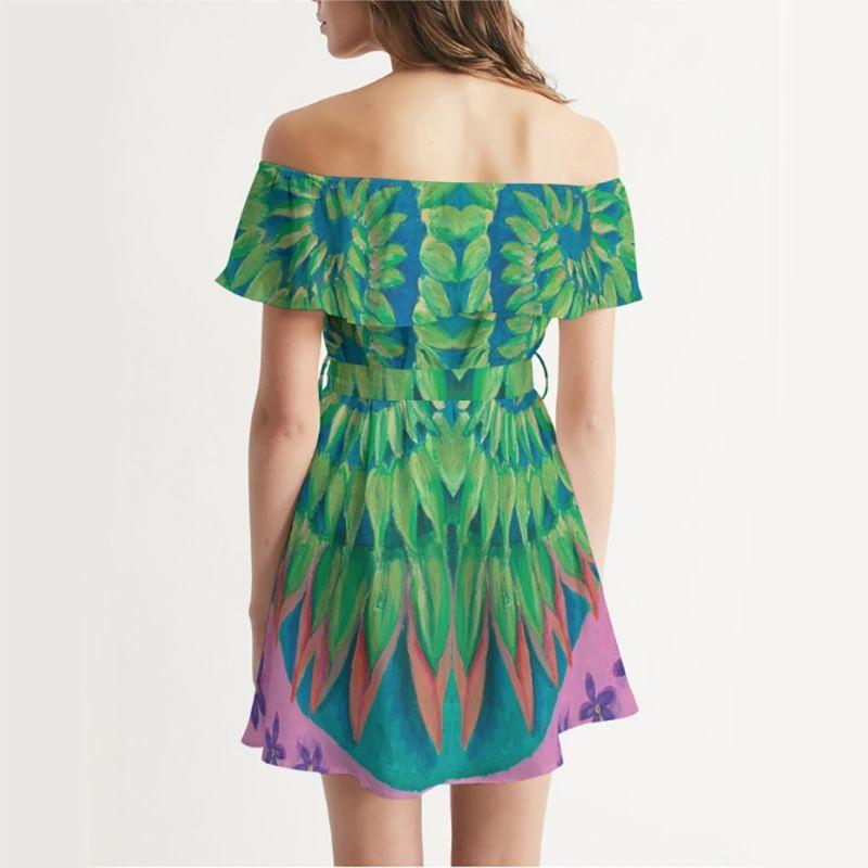 Off Shoulder Dress Green Spiral image