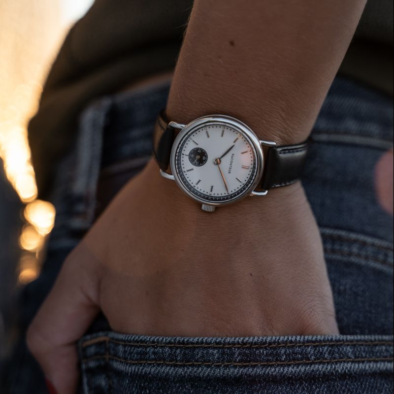 Earhart Silver White - Black Leather image