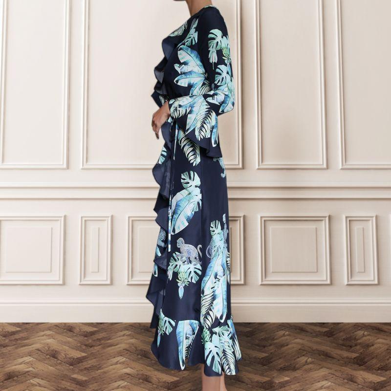 Silk Wrap Dress - Aqua Jungle Print image
