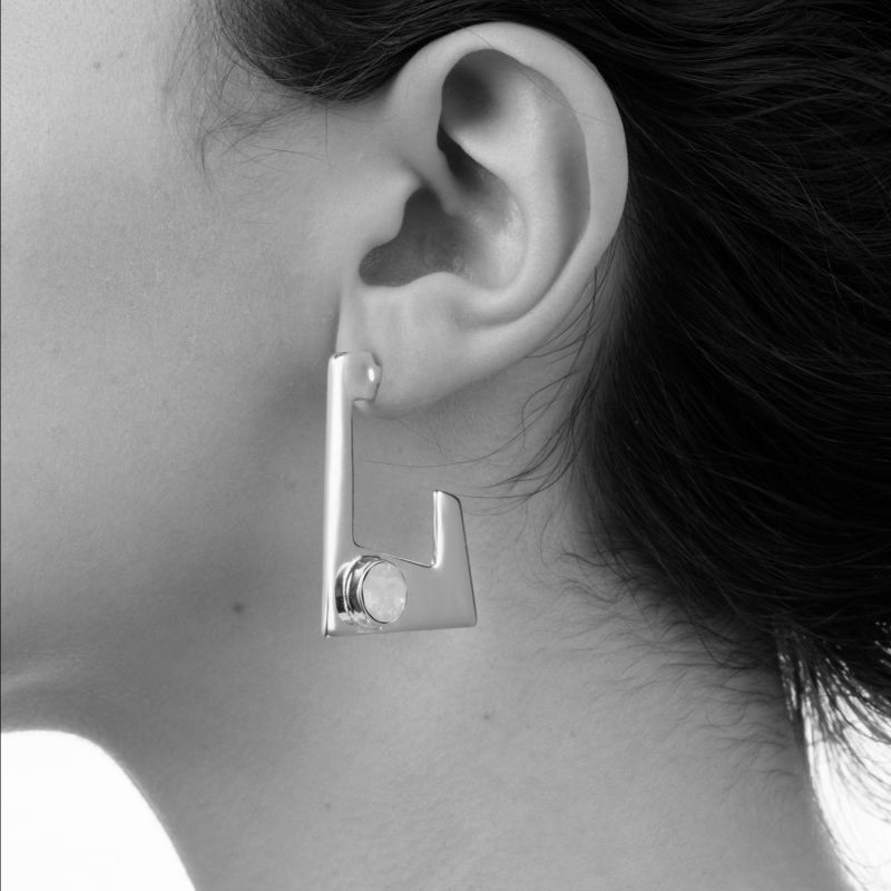 Trapezium Earring Silver Antique Rose image
