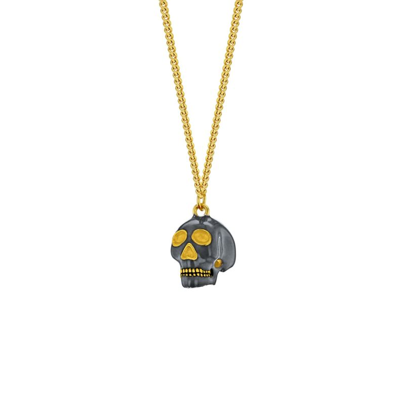 18Kt Gold Plated & Sterling Silver 2-Tone Mini Skull Pendant image