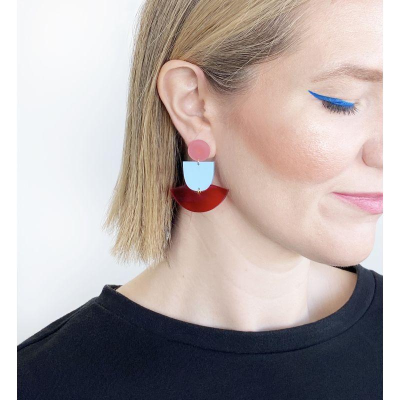Skirt Pink, Pastel Blue, Red Earrings image