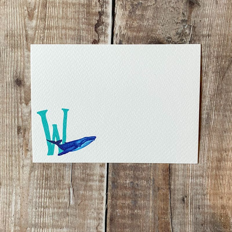 Blue Whale Letter Notecards: Pack Of 10 image