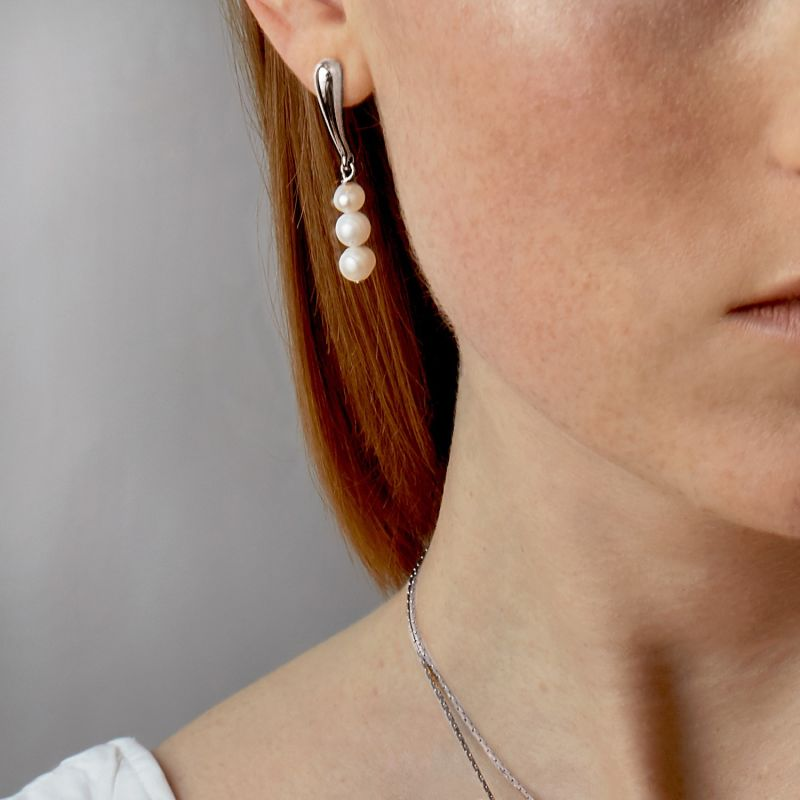 Pearl Droplet Studs - Silver image