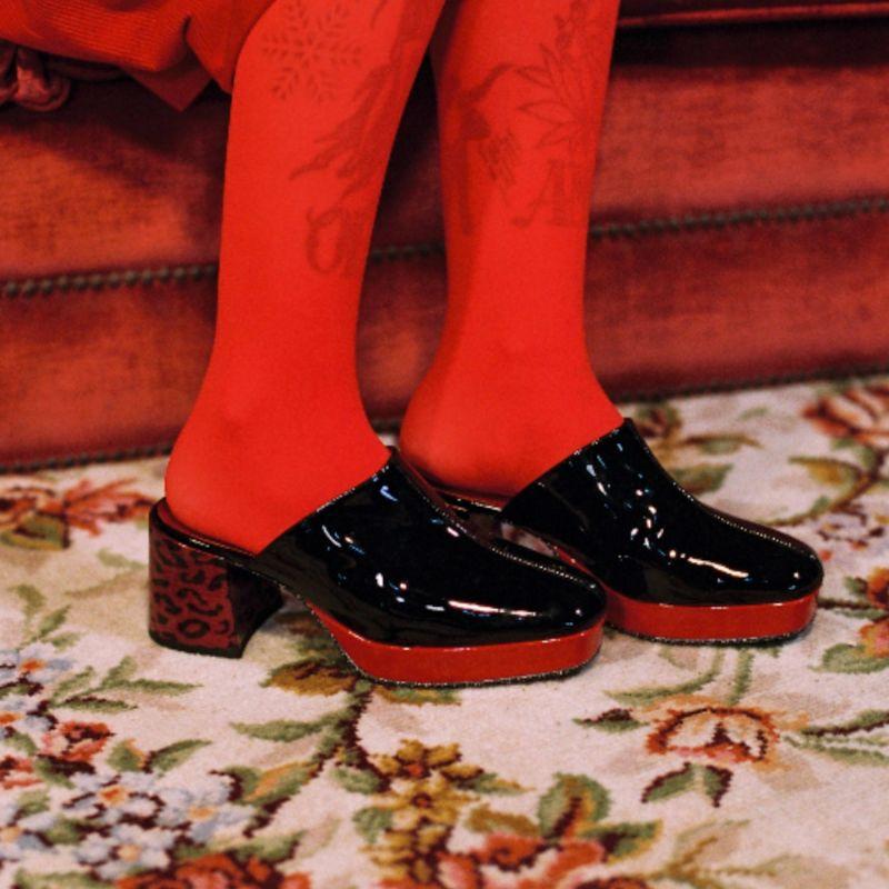 David B - Black and Red Patent Leather Platform Mules image