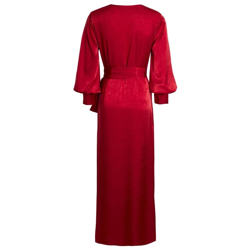 Ruby Vivid Red Puffed Sleeve Wrap Maxi Dress image