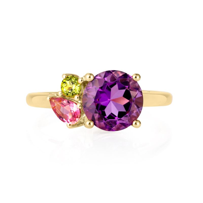 Purple Amethyst Cluster Gold Ring image