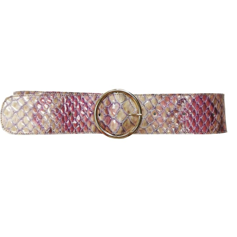 Leather Snake Pattern Belt with Golden Buckle image