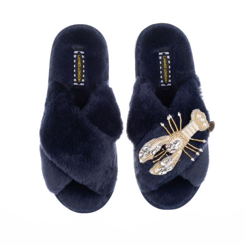 Classic Laines Navy Slippers With Artisan Pearl & Gold Lobster Brooch image