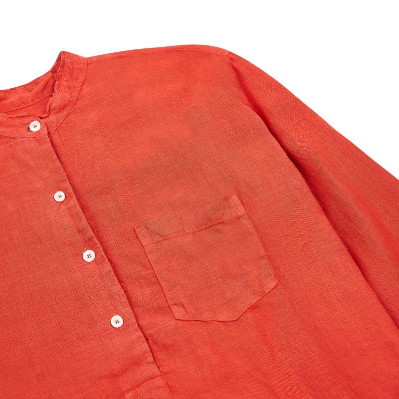 Women's Linen Tunic Shirt - Rust image