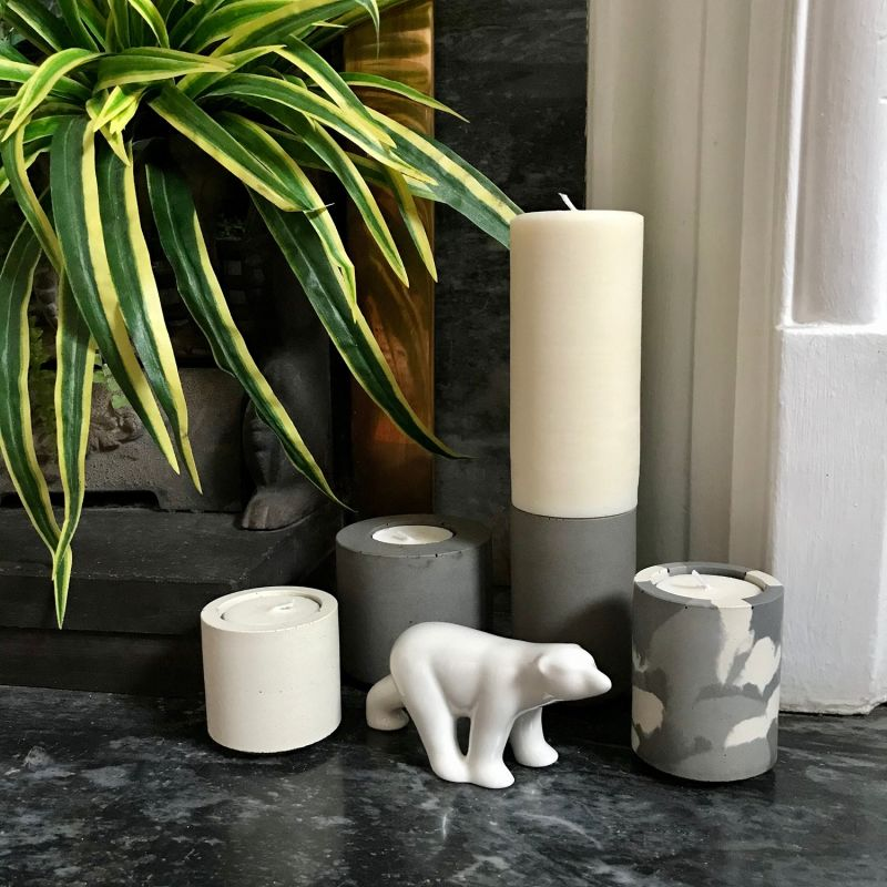 Grey Snocam & White Concrete Tealight Holders With Lime Basil Mandarin Tealights image