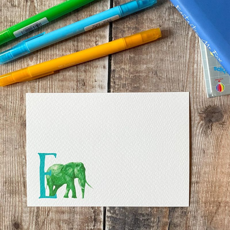 Elephant Letter Notecards: Pack Of 10 image