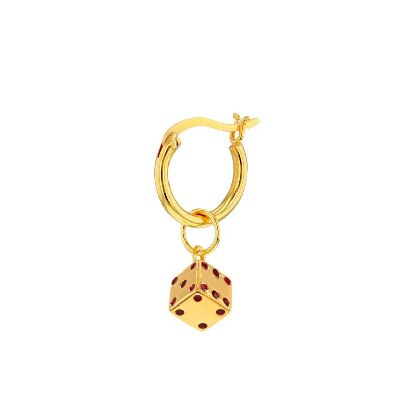 18Kt Gold Plated & Red Mini Dice Charm On Gold Hoop image