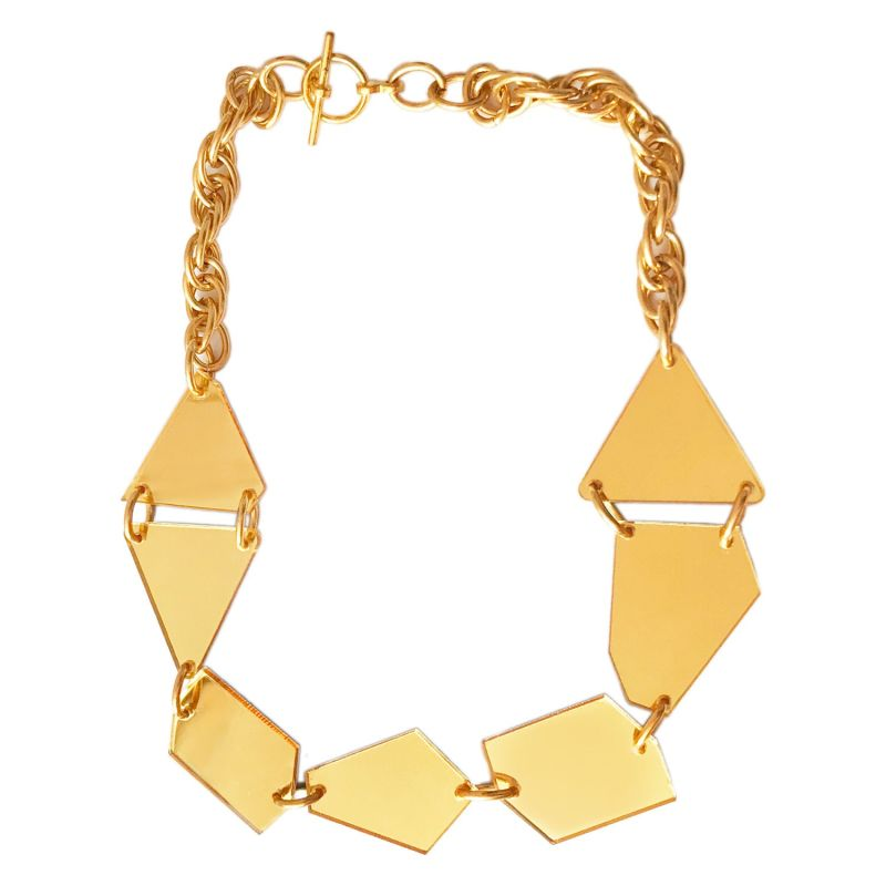 Gold Mirror Abstract Geometric Necklace image
