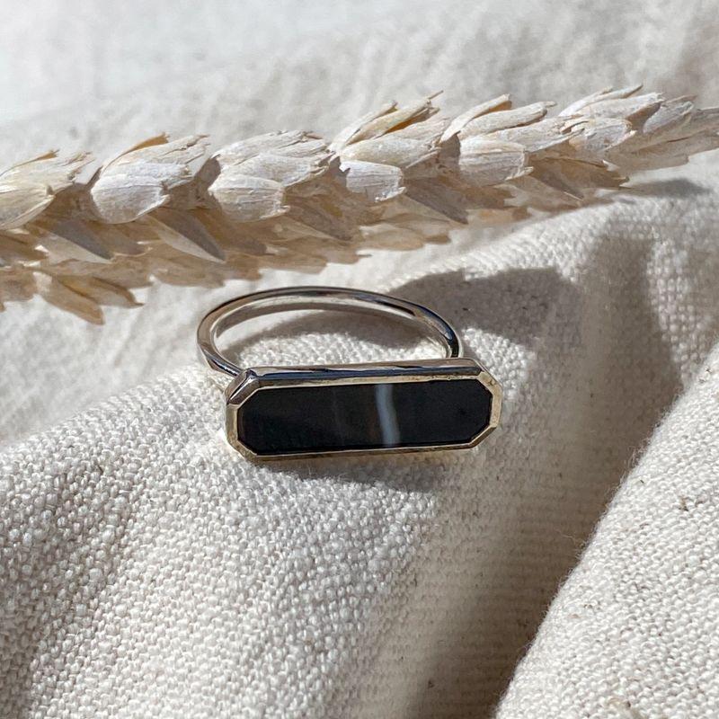 Eva Black Agate Silver Ring image