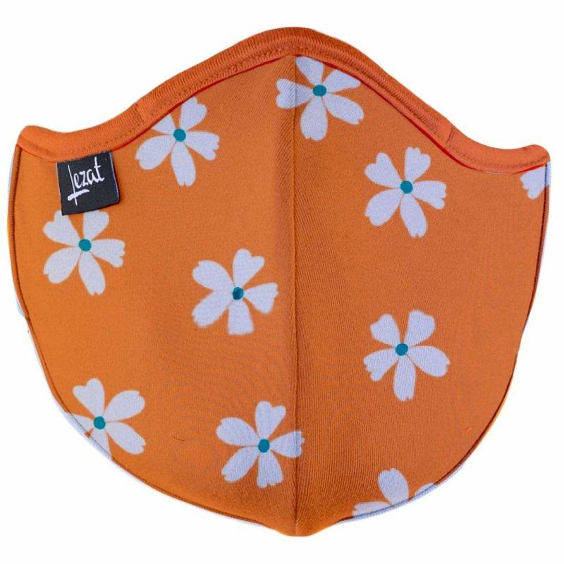 Retro Flowers Orange Super Soft Face Mask image