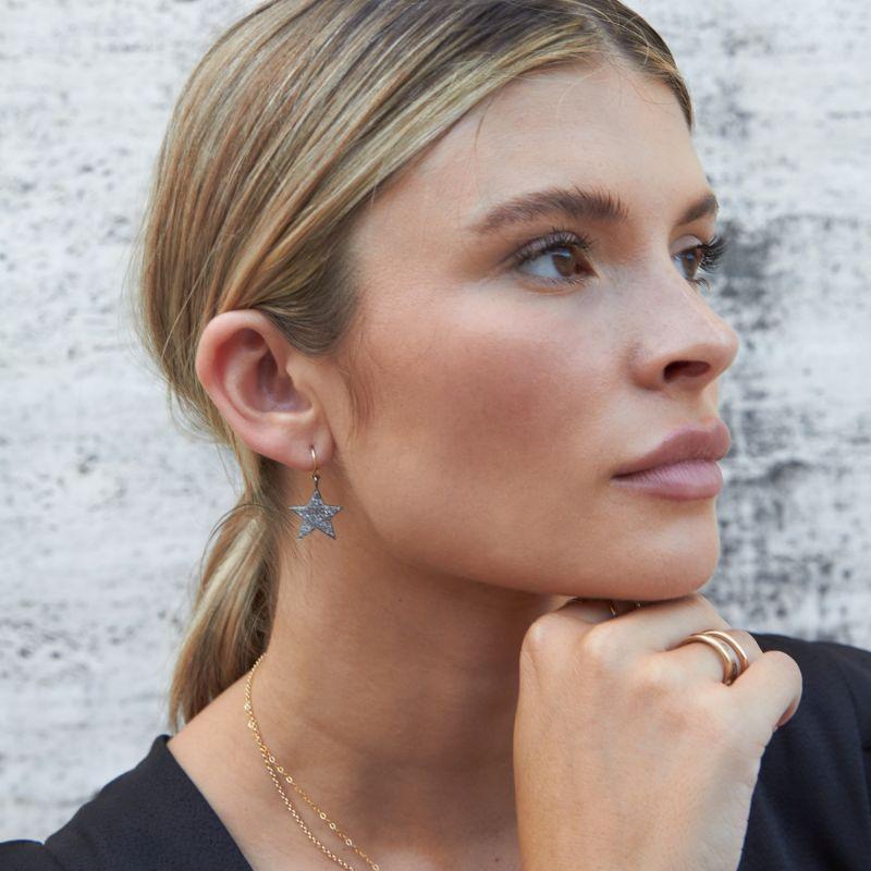 Halle Pavé Diamond Star Drop Earrings image