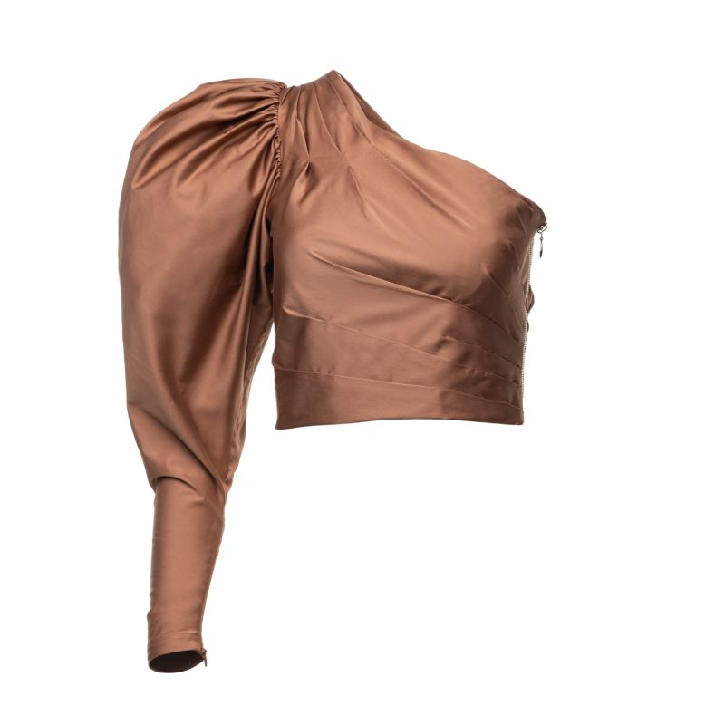 Coco One-Sleeve Draped Blouse In Chocolate Brown image