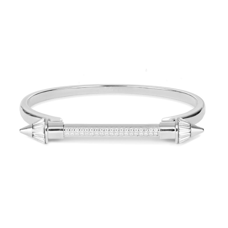 Silver Pointed Screw Cuff Bracelet image