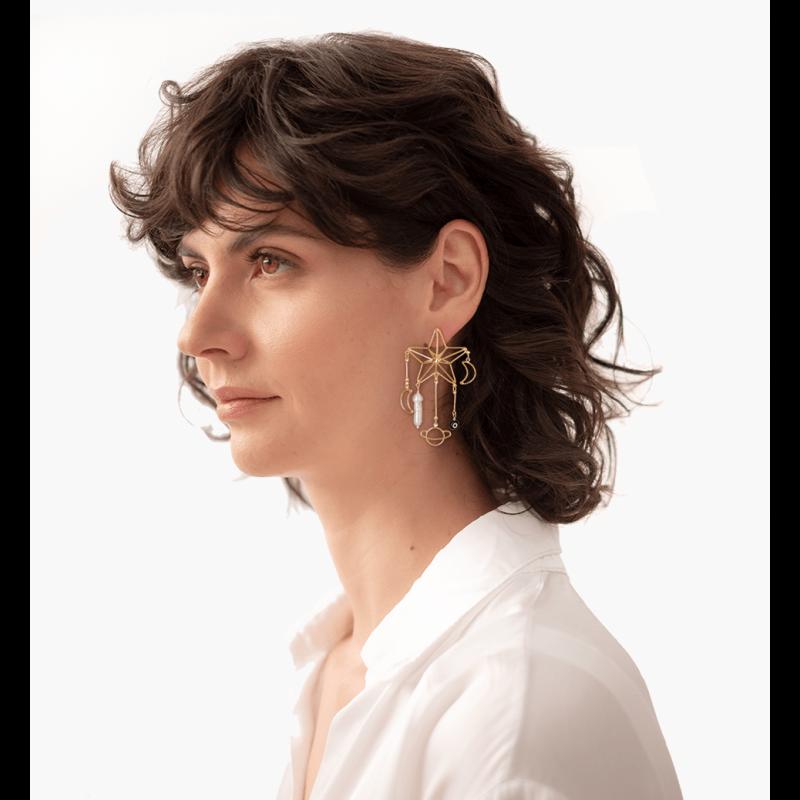 Pearl Star Earrings image