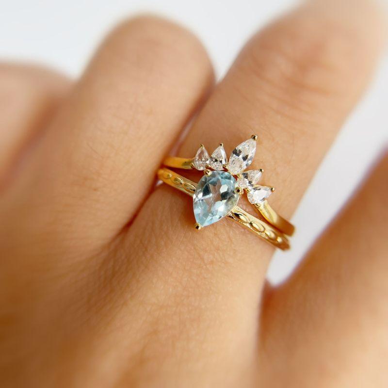 Supreme and Harmony Aquamarine Ring Set image