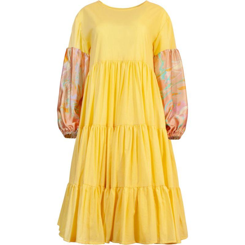 Oversize Midi Tiered Smock Dress Yellow image