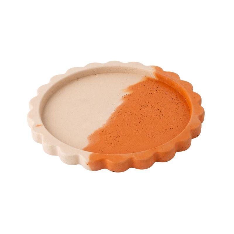 Concrete Scallop Tray - Terracotta & Blush image