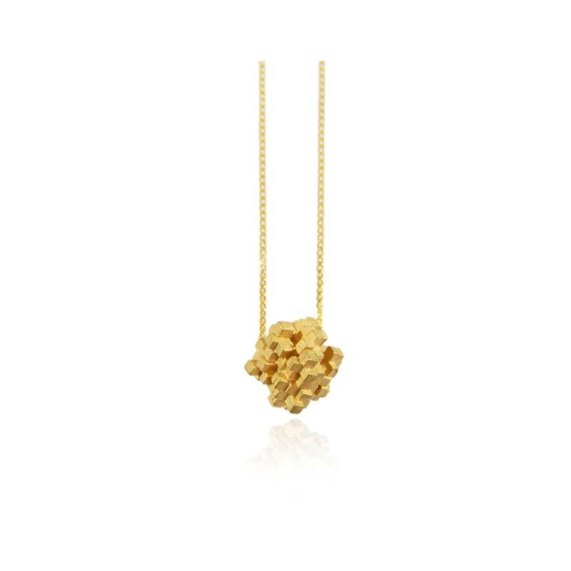 Tetris Cube Necklace Gold image