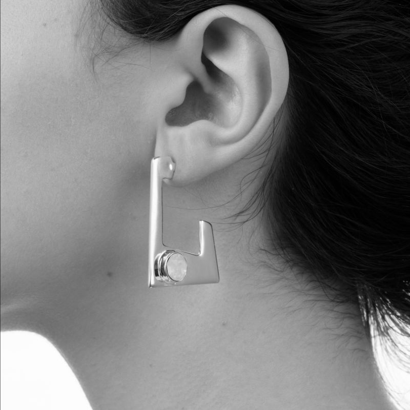 Trapezium Earring Silver Blue Shimmer image