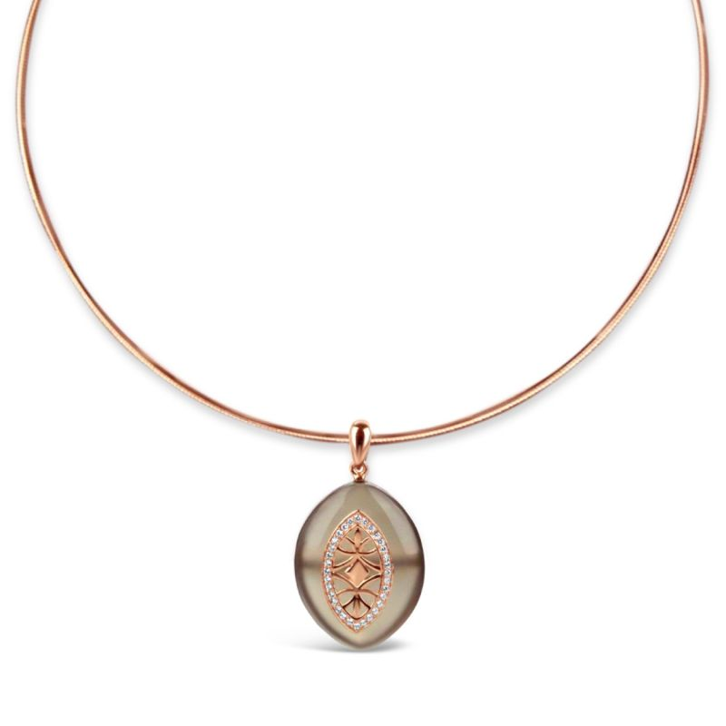 Gold Plated Grey Agate Necklace image