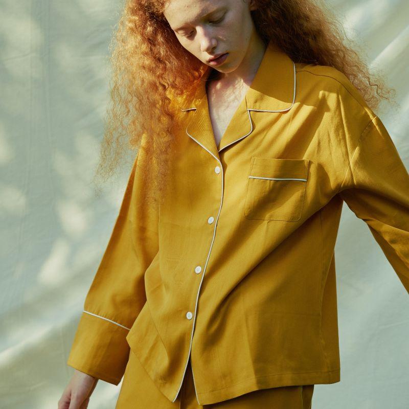 Women 3-Piece Tencel Pajamas Set - Yellow image