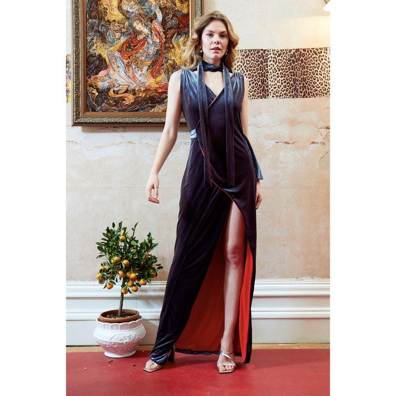 Karolina Velvet Choker Wrap Maxi Dress image
