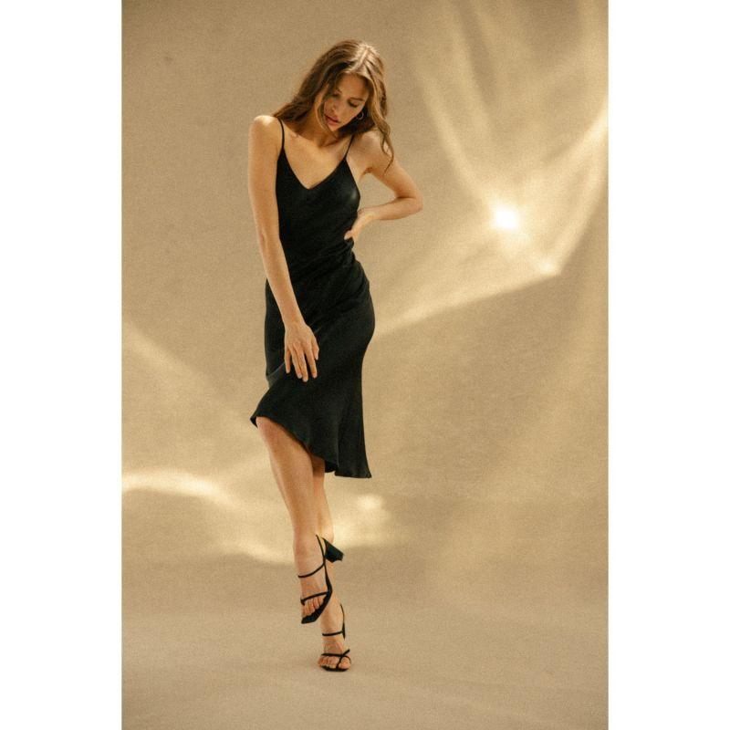 Midi Slip Black Satin Dress - 90s Style image