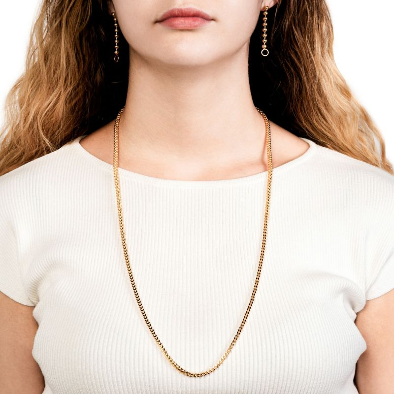 3Mm Italian Made Franco Chain Necklace Gold image