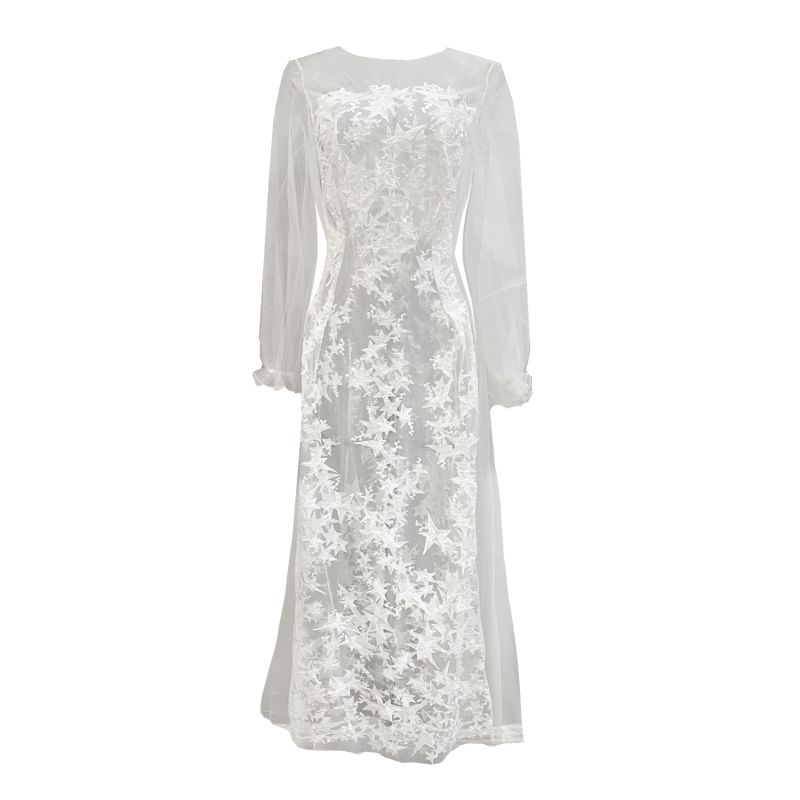Star Embroidered Off White Sheer Tulle Long Gown image