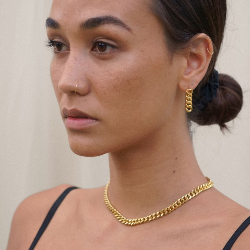 Worth It Chain Earrings - Gold image