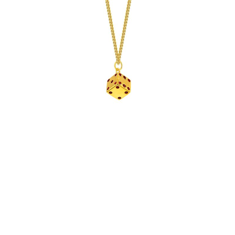 18Kt Gold Plated & Red Enamel Dice Mini Pendant image