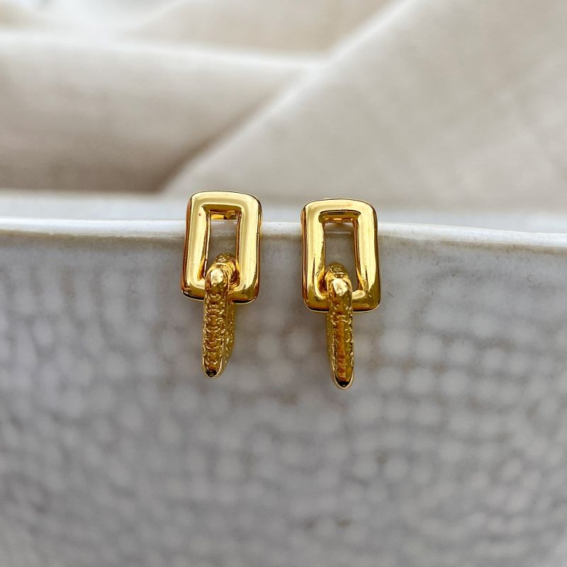 Geo Mini Gold Earrings image