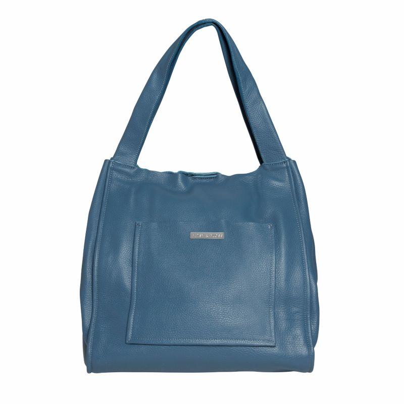 Soft Leather Shopper Bag In Light Blue image