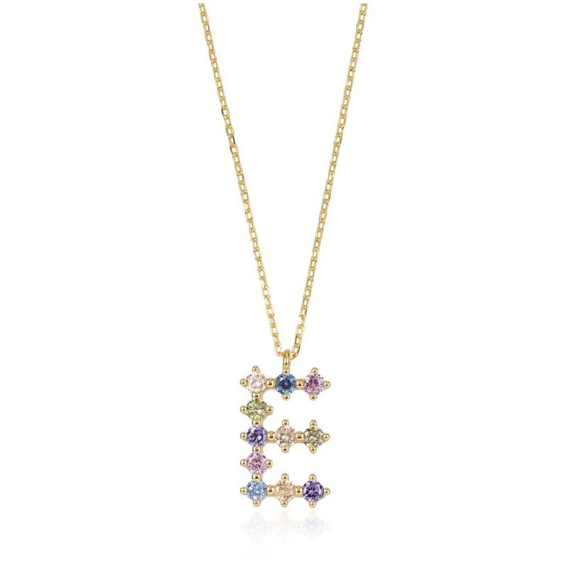 Necklace Letter E - Gold and Zirconias image