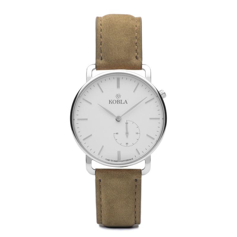 KOBLA Silver Case / White Dial / Khaki Suede Leather image