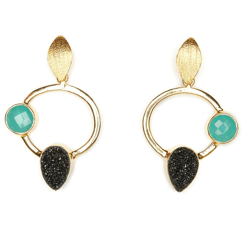 Black & Blue Circle Earrings image