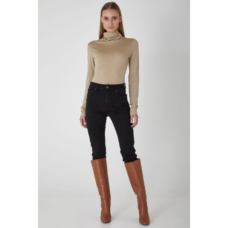 Luxury Superfine Merino Wool Skivvy Top - Neutral image